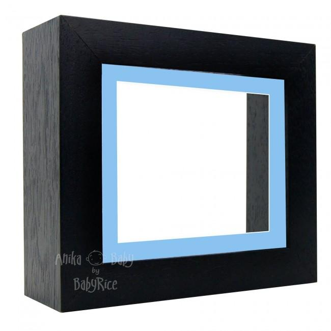 "Deluxe Black Deep Box Frame 6x5"" with Blue Mount and White Backing"