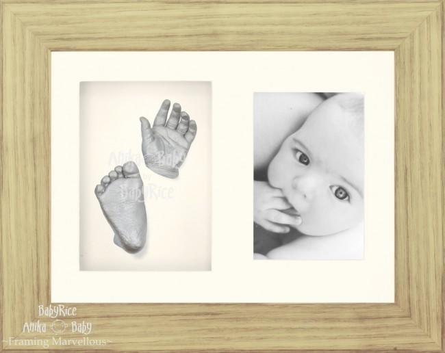 "Baby Casting Kit & 11.5x8.5"" Oak effect Frame / Silver paint"