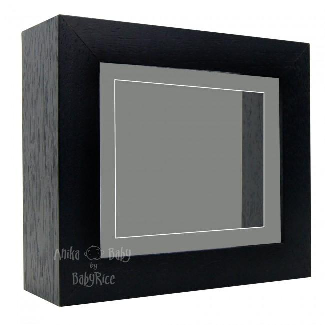 "Deluxe Black Deep Box Frame 6x5"" with Grey Mount and Backing"