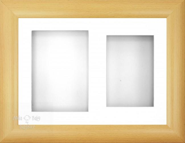 "12x9"" Beech Effect 3D Display Frame 2 Hole White"