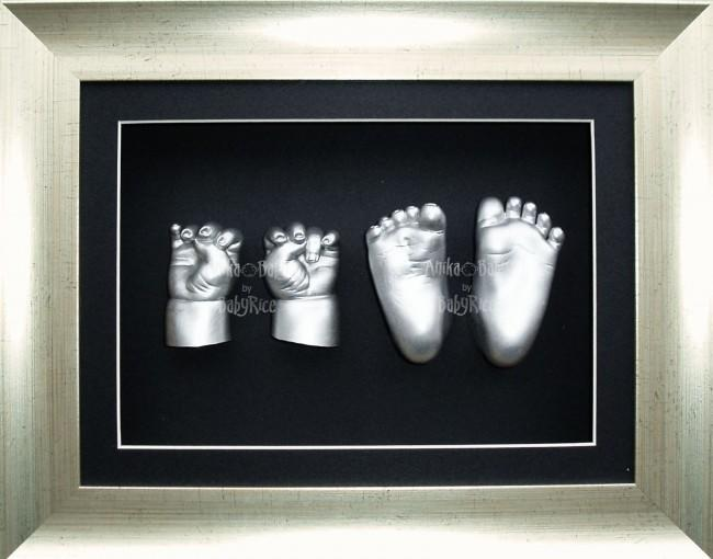 Large 3D Baby Casting Kit, Antique Silver Deep Frame, Silver