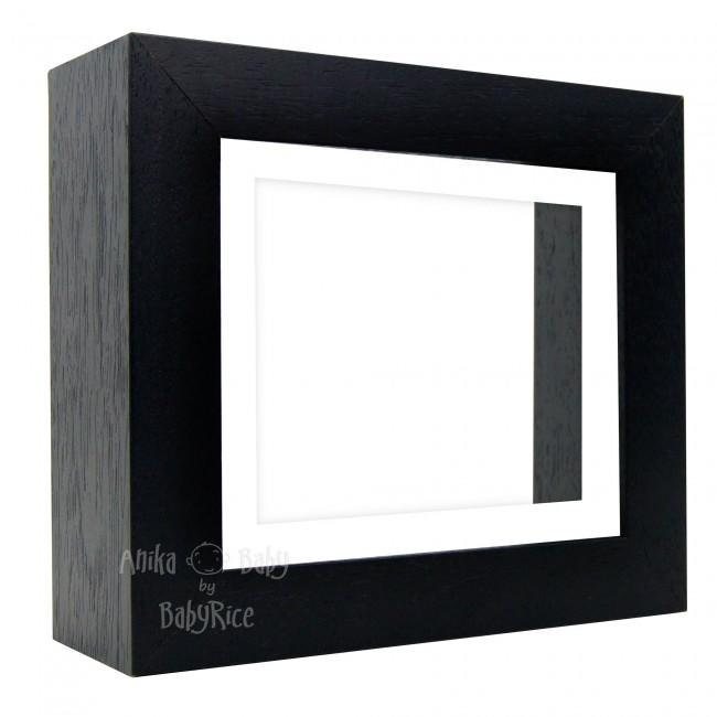 "Deluxe Black Deep Box Frame 6x5"" with White Mount and White Backing"