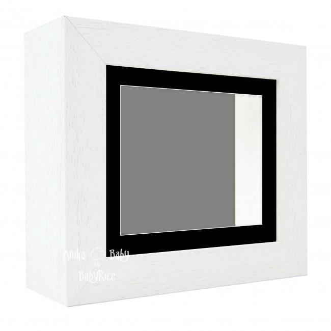 "Deluxe White Deep Box Frame 6x5"" with Black Mount and Grey Backing"