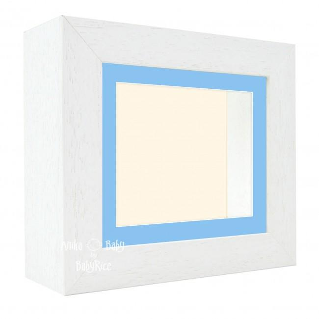 "Deluxe White Deep Box Frame 6x5"" with Blue Mount and Cream Backing"
