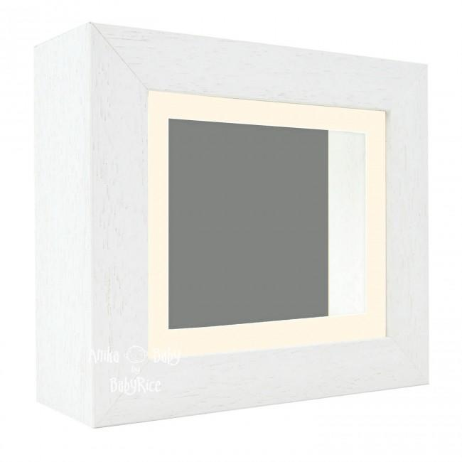 "Deluxe White Deep Box Frame 6x5"" with Cream Mount and Grey Backing"