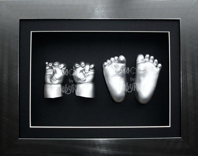Big Older Baby Casting Kit, Pewter Photo Frame, Silver Casts