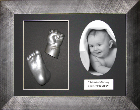 New Baby Hand Foot Casting Kit, Pewter Frame, Silver Casts