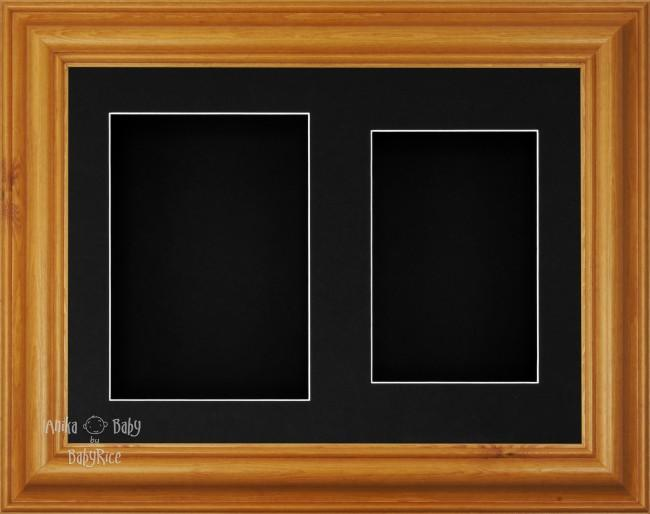 "11.5x8.5"" Honey Pine Wood 3D Display Frame 2 Hole Black Mount Black Back"