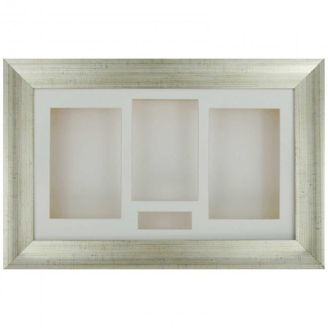 "15x9"" Antique Silver 3D Shadow Box Display Frame / Cream"