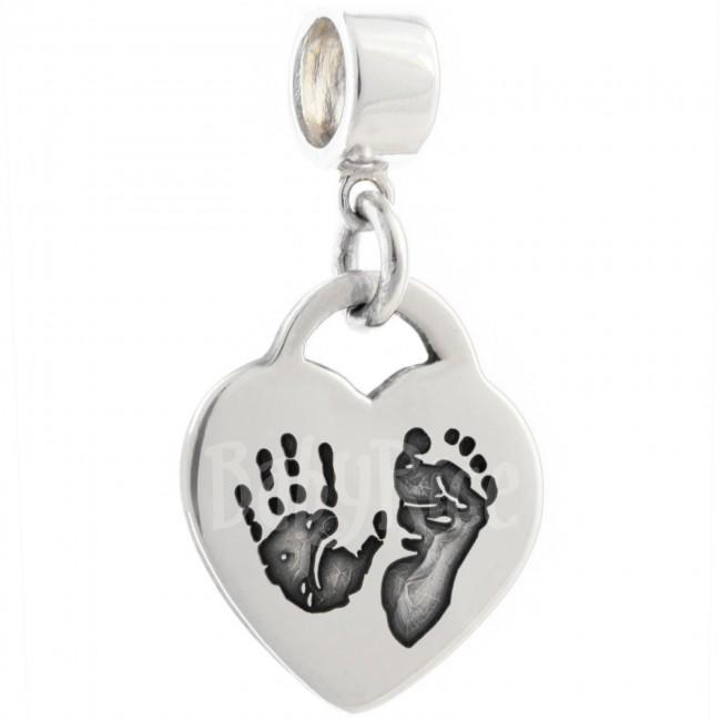 Adult Child Fingerprint Jewellery Heart Charm & Bracelet Connector Oxidised