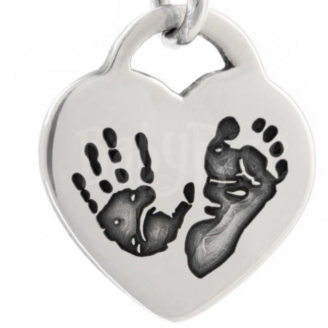 Baby's Child's Imprints Handprint Footprint Silver Heart Pendant Oxidised Prints