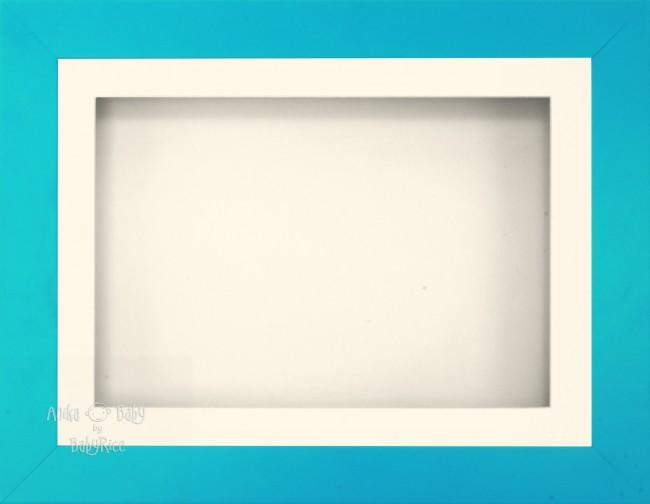 "11.5x8.5"" Blue Effect 3D Display Frame 1 Hole Cream Mount Cream Back"