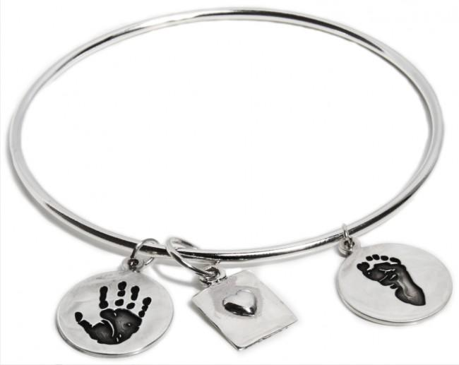 Sterling Silver Bangle Bracelet with Heart & 2 Circle Charms