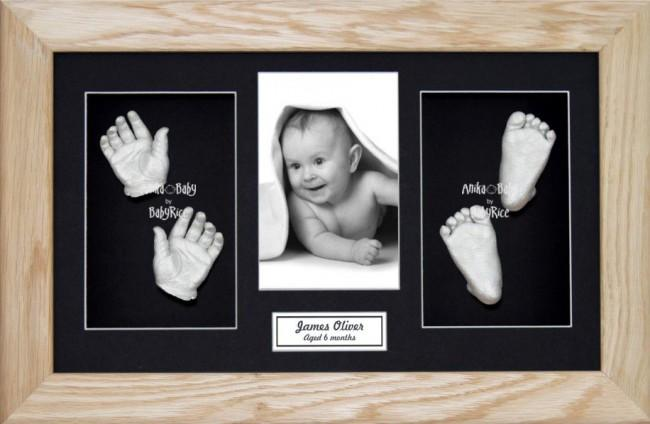 Solid Oak Wooden Frame, Baby Casting Kit Keepsakes, Silver Casts