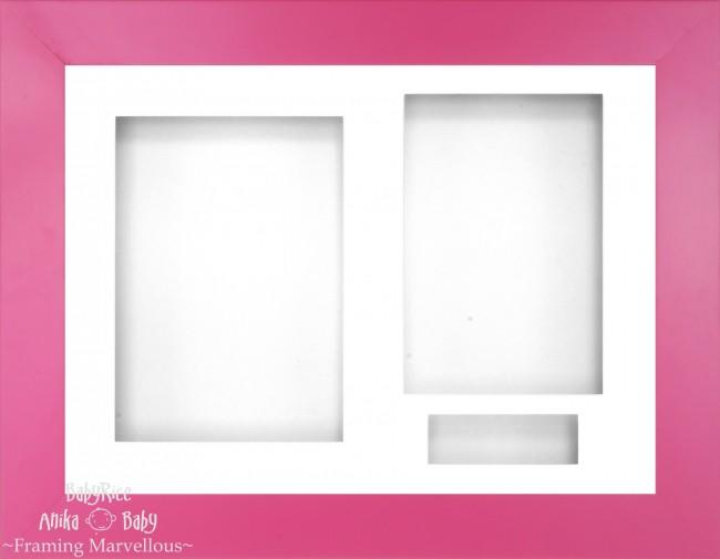 "12x9"" Pink Effect 3D Display Frame 3 Hole White Mount White Back"