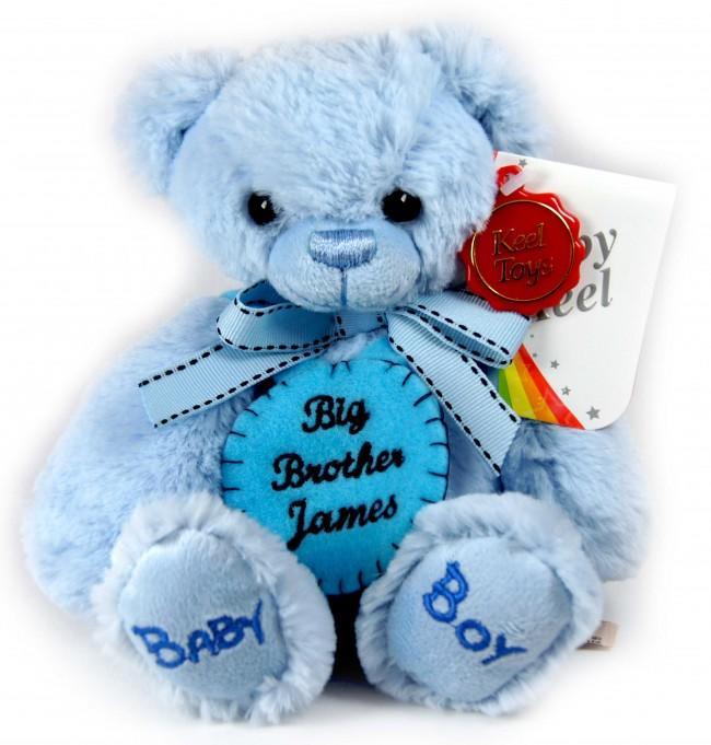 Personalised Felt Badge Blue Teddy Bear Small 18cm