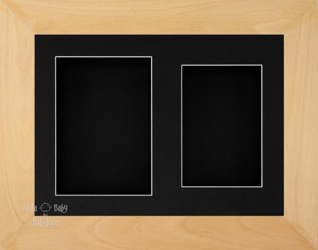 "11.5x8.5"" Real Beech Wood 3D Display Frame 2 Hole Black Mount Black Back"