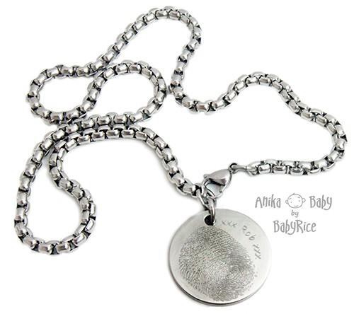 Large Stainless Steel Circle Fingerprint Square Chain