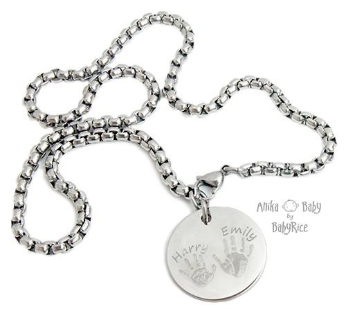 Large Stainless Steel Circle Hand Footprints Square Chain