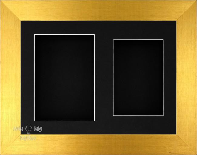 "11.5x8.5"" Brushed Gold 3D Display Frame 2 Hole Black Mount Black Back"