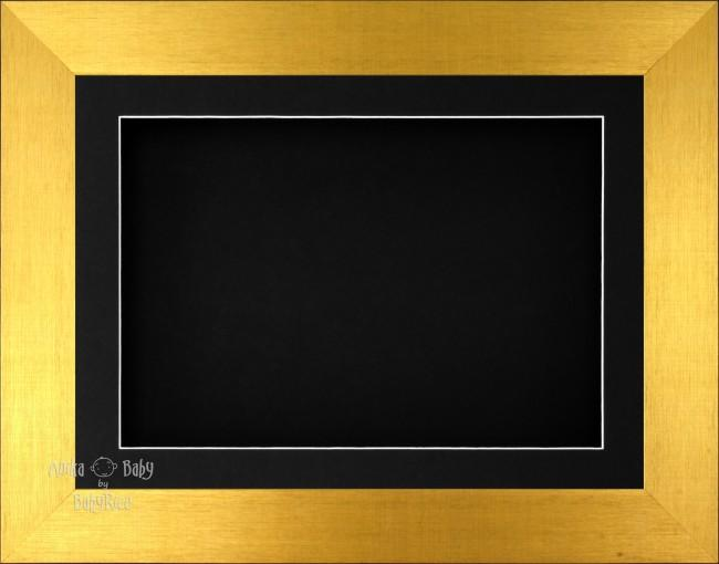 "11.5x8.5"" Brushed Gold 3D Display Frame 1 Hole Black Mount Black Back"