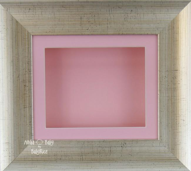 "6x5"" Antique Silver effect display frame / Pink mount & Backing"