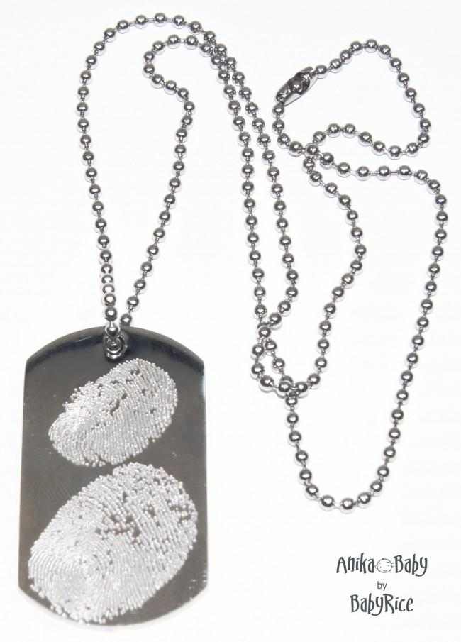 Adult Child Fingerprints on Dogtag & Ball Chain Necklace S/Steel