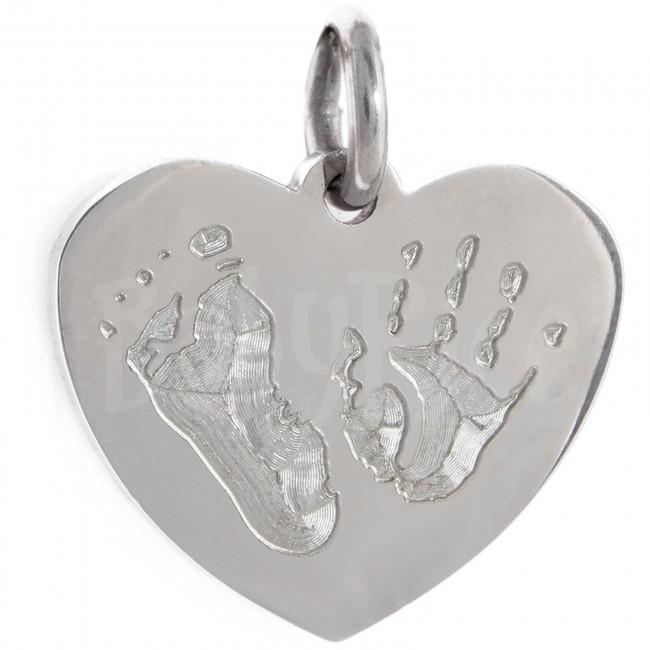 Personalised Handprint Footprint Pendant Stainless Steel Heart