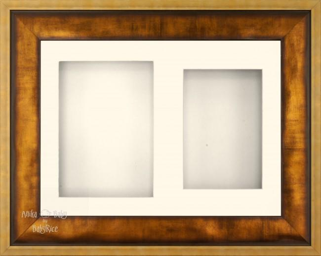 "12x9"" Urban Gold 3D Display Frame 2 Hole Cream Mount Cream Back"