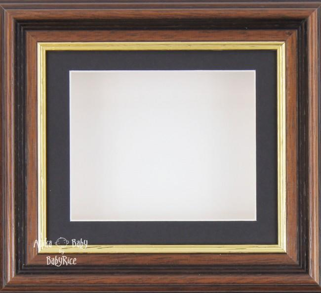 "6x5"" Mahogany/Gold Trim display frame / Black mount & White Backing"