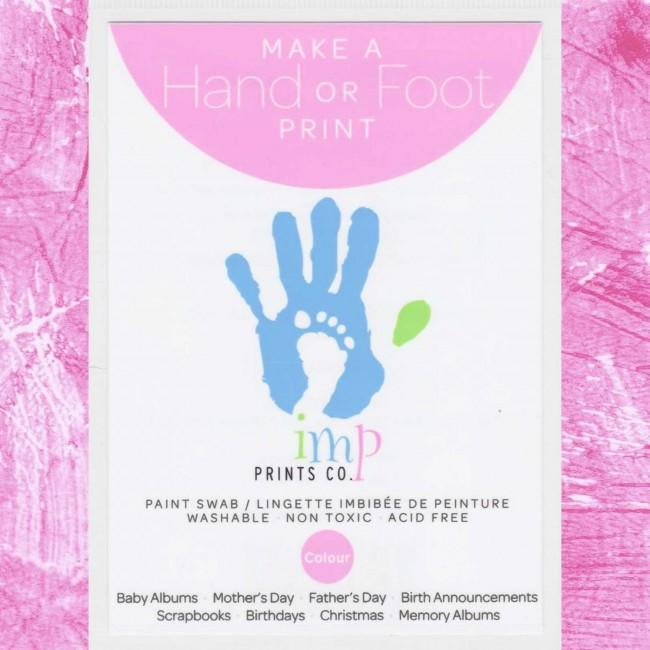 Baby Handprint Footprint Kit Pink Paint Wipe / Swab