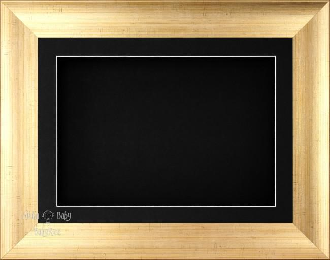 "11.5x8.5"" Antique Gold 3D Display Frame 1 Hole Black Mount Black Back"
