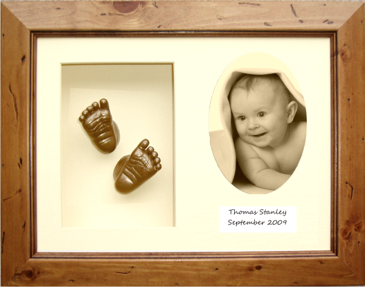 Christening Gift Baby Casting Kit Rustic Wood Frame, Bronze