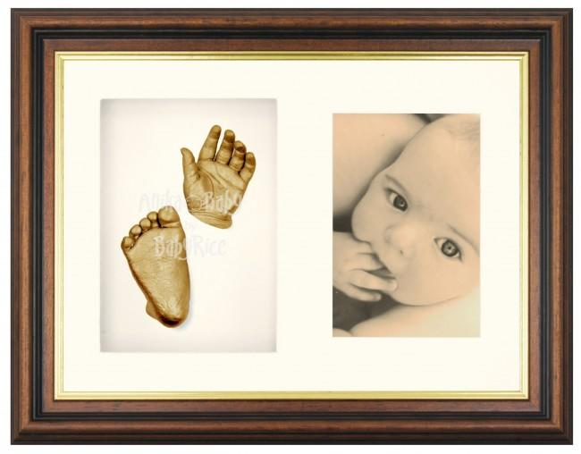 3D Hand Foot Casting Kit Gift, Mahogany Frame, Gold Casts