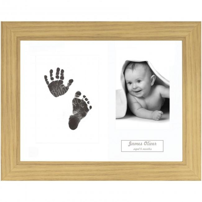 New Baby Gift Inkless Prints, Hand & Footprint Kit, Oak Effect Frame
