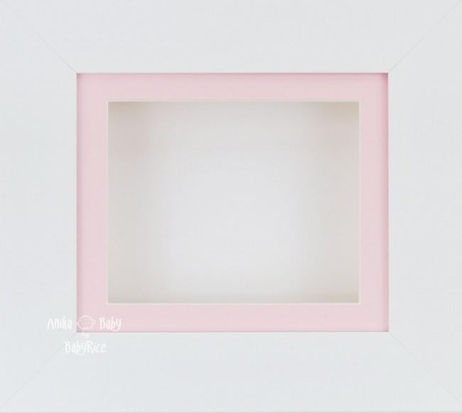 "6x5"" Deep Box Display Frame in White with Pink Mount and Backing"