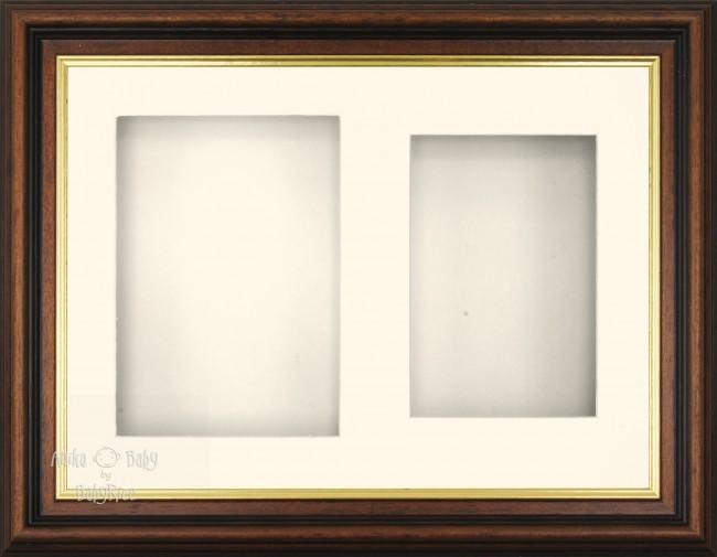 "11.5X8.5"" Mahogany effect 3D Box Frame Cream 2 mount"
