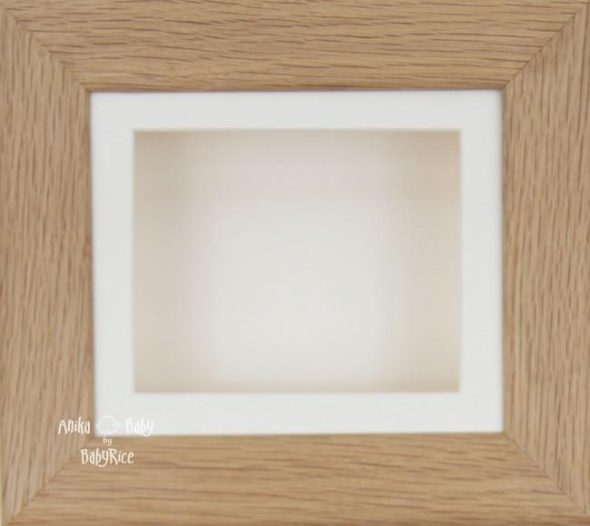 Solid Oak Shadow Box Display Frame / Cream mount & backing card