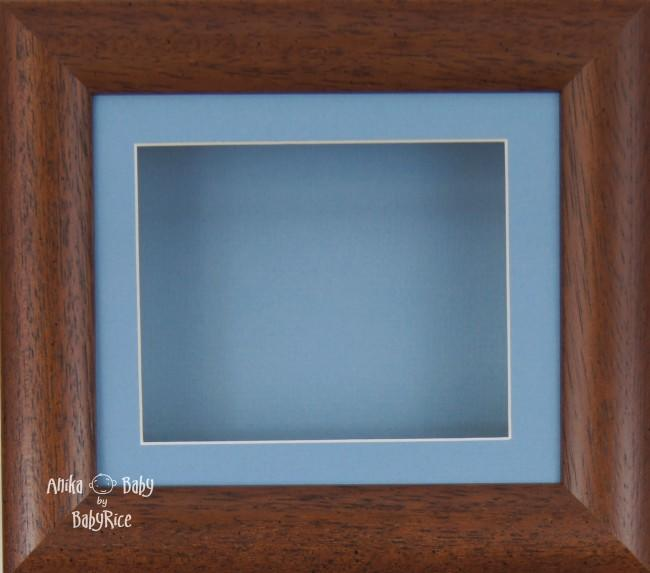 "6x5"" Dark Wood display frame / Blue mount & Backing"