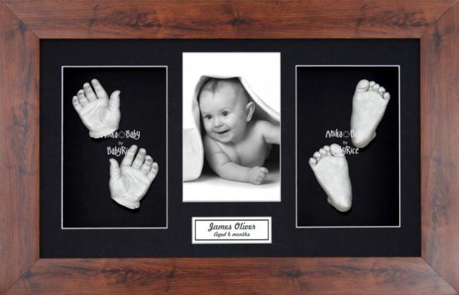 New Baby Casting Kit Gift, Mahogany effect frame, Silver Hands Feet