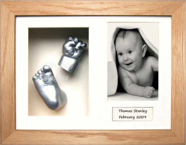 Newborn Baby Casting Kit, Solid Oak Frame, Silver Hand Foot Casts