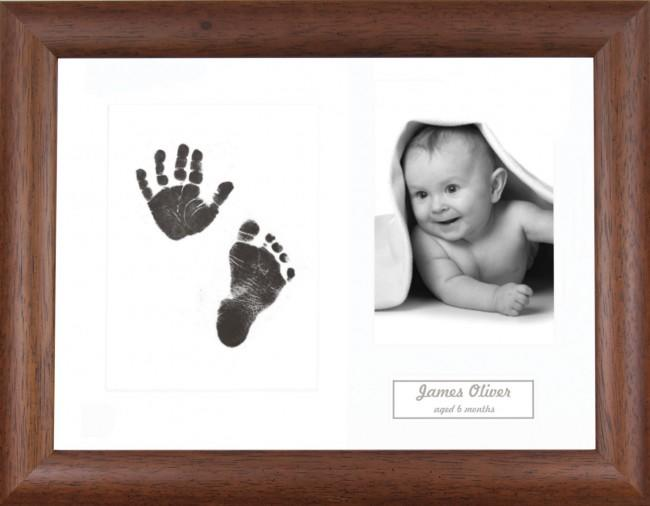 New Baby Gift Inkless Prints, Hand & Footprint Kit, Dark Wood Frame
