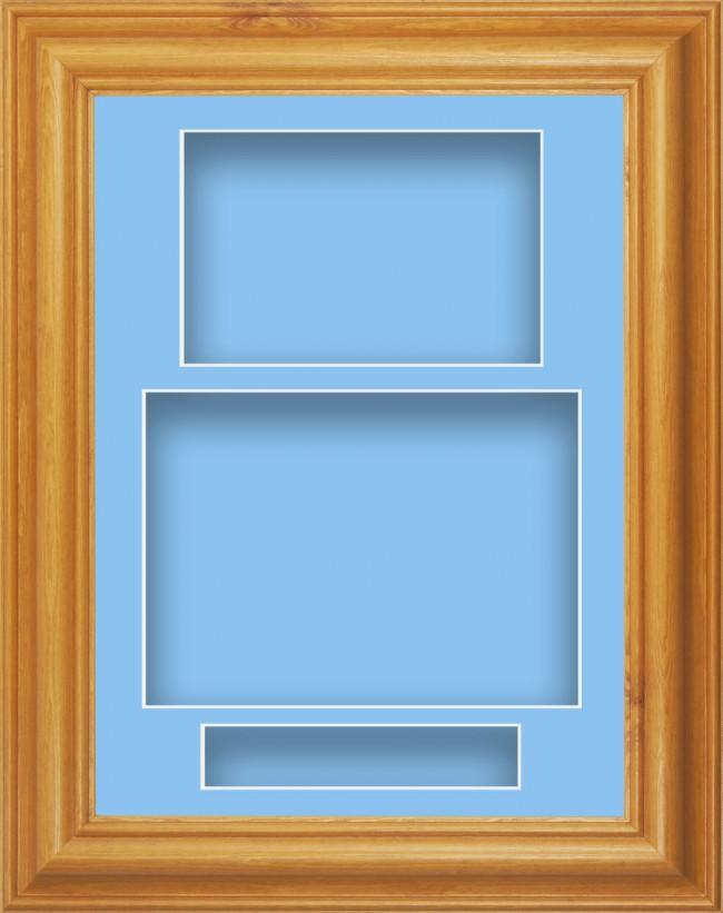 11.5x8.5 Honey Pine Wood Deep Box Display Frame Blue Portrait