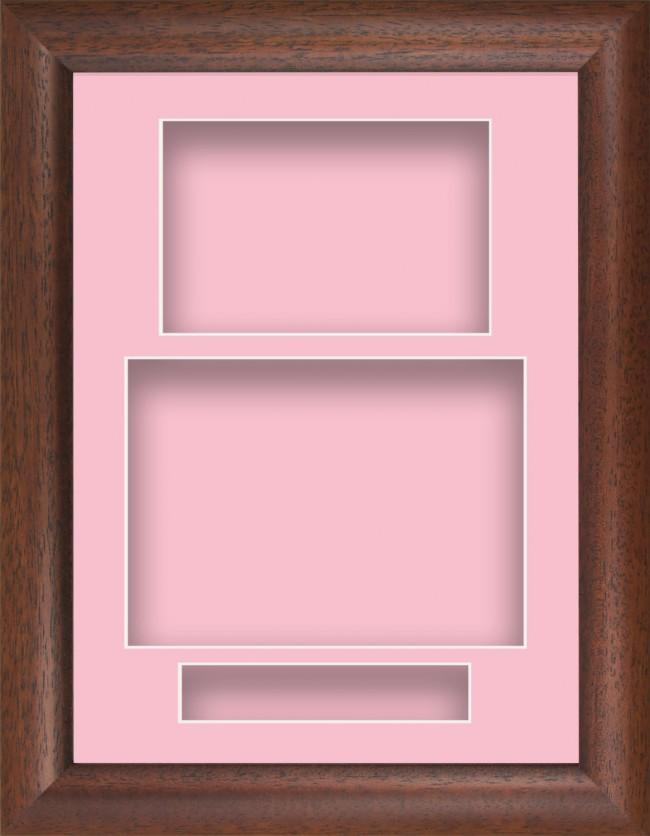 12x9 Dark Wood Cushion Deep Box Display Frame Pink Portrait