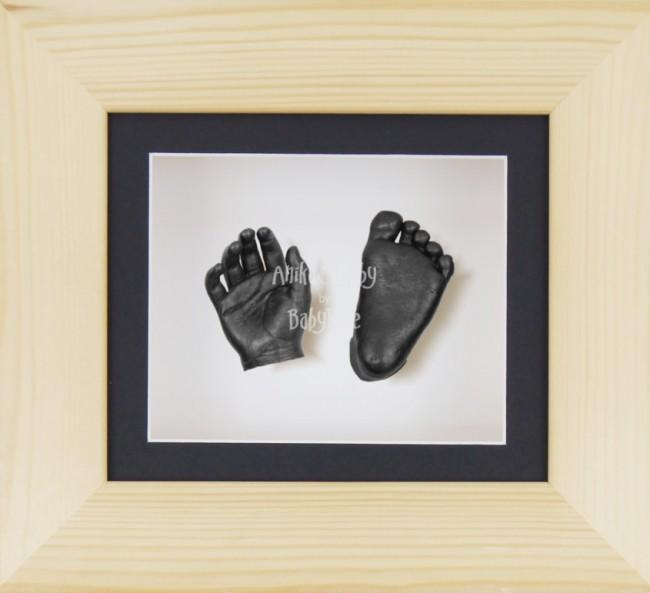 Baby Casting Kit Natural Pine Frame Black White Display Pewter paint