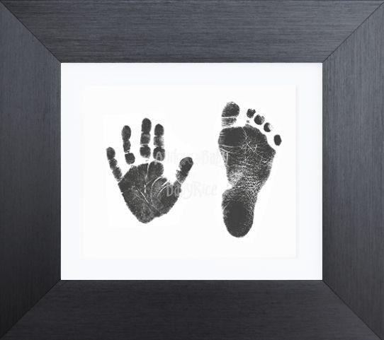 "Baby Handprint Footprint Kit with 6x5"" Pewter Frame / White mount"