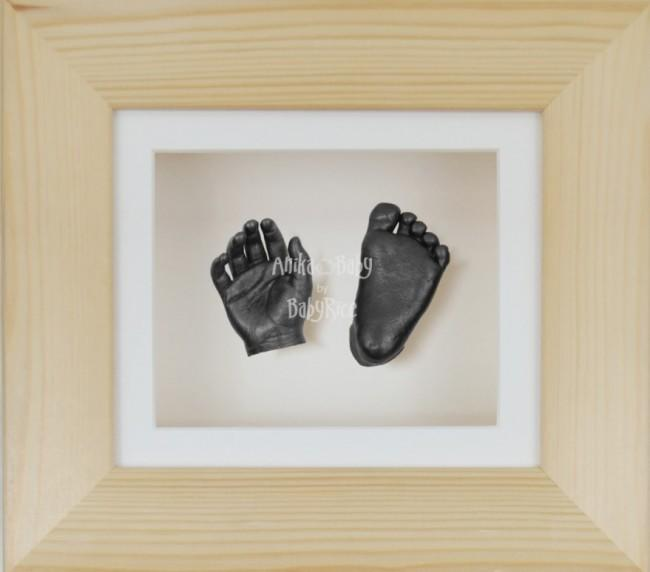 Baby Casting Kit Natural Pine Frame Cream Display Pewter paint