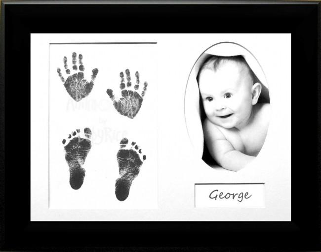 New Baby Handprint Footprint Kit Inkless wipe / Black Frame