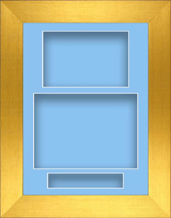11.5x8.5 Gold Deep Box Display Frame Blue Portrait