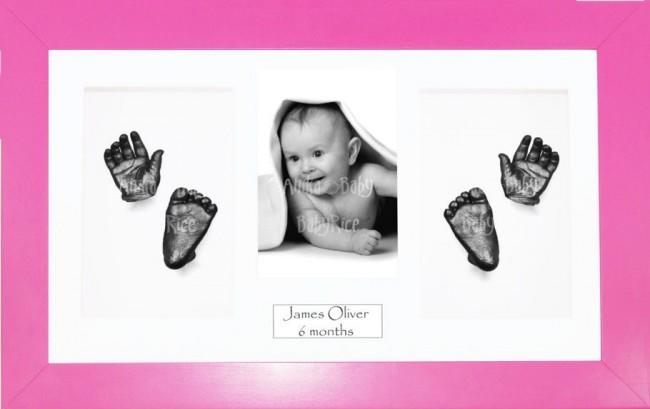 Baby Girl Gift, Casting Kit, Pink Frame, 3D Handprints Footprints, Pewter